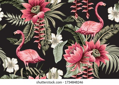 Tropical vintage pink flamingo, pink lotus, white hibiscus flower, palm leaves floral seamless pattern black background. Exotic jungle wallpaper.