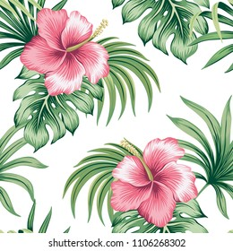 Tropical vintage pink hibiscus floral green palm leaves seamless pattern white background. Exotic wallpaper