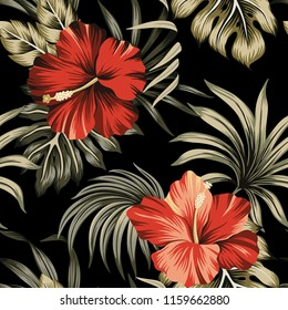 Tropical vintage red hibiscus floral green palm leaves seamless pattern black background. Exotic Hawaiian wallpaper.