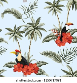 Tropical vintage red hibiscus flower, palm trees, palm leaves, exotic bird and toucan floral seamless pattern blue background. Exotic jungle wallpaper.