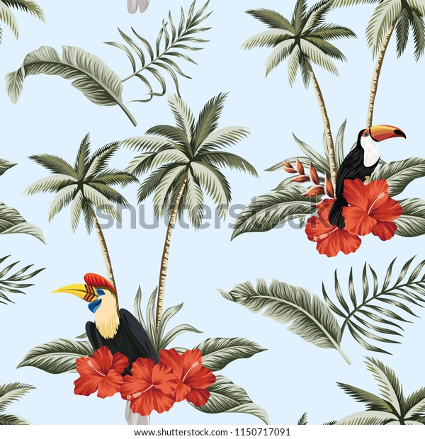 Tropical Vintage Red Hibiscus Flower Palm Stock Vector Royalty Free