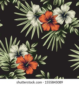 Tropical vintage red white hibiscus flower, palm leaves floral seamless pattern black background. Exotic jungle wallpaper.