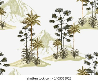 Tropical vintage seamless pattern background with palm trees, mountains.Isolated on white background. Exotic jungle wallpaper.Perfect for wallpapers,web page backgrounds,surface textures
