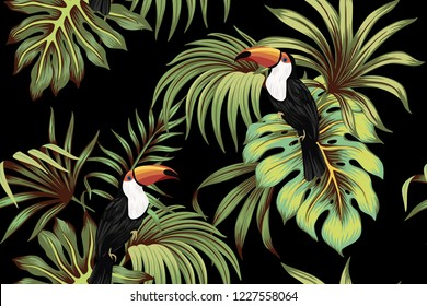 Tropical vintage toucan, palm leaves floral seamless pattern black background. Exotic jungle wallpaper.