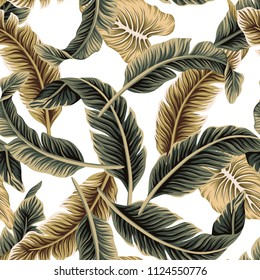 Tropical vintage vector banana leaves floral seamless pattern. Exotic jungle wallpaper.