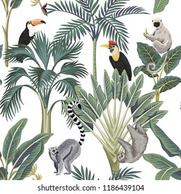 Tropical vintage wild animals, toucan, palm trees, banana tree floral seamless pattern white background. Exotic botanical jungle wallpaper.