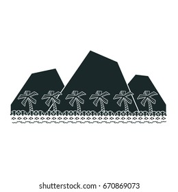 Tropical volcanic island with a row of graphic palm trees, a row of fish & a row of waves.