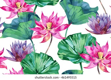 Tropical watercolor flowers, leaves, pink lotus, vector seamless floral pattern background