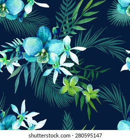 Tropical watercolor seamless pattern of exotic flowers. Jungle palm leaves background.