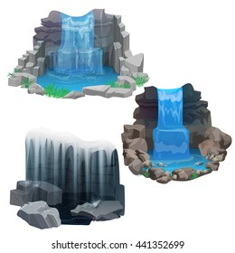 Tropical waterfall collection set for game, design and stickers. Ice Frozen waterfall.