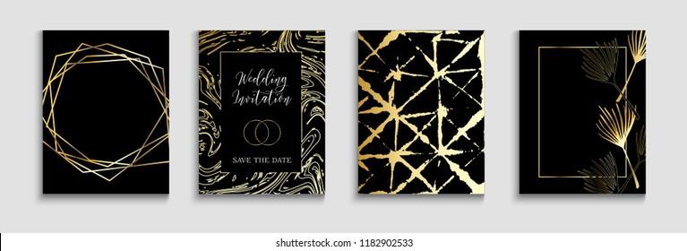 Tropical Wedding Invitatinon Vector Cards Set. Exotic Border, Pattern, Frame for Premium Rich Wedding Celebration. Tropical Leaves Sparkling Background, Minimal Geo Card Design. Simple Luxury Invite