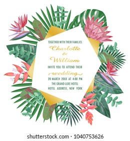 Tropical Wedding Invitation with Geometric Frame