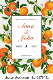 Tropical wedding invitation with oranges. Template design. Vector illustration.