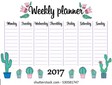 cute a 4 template weekly daily planner stock vector royalty free