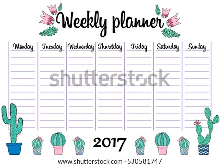 tropical weekly daily planner template plants のベクター画像素材