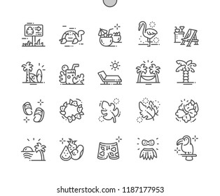 Tropical Well-crafted Pixel Perfect Vector Thin Line Icons 30 2x Grid for Web Graphics and Apps. Simple Minimal Pictogram