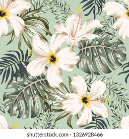 Tropical white hibiscus flowers, monstera palm leaves bouquets, green background. Vector seamless pattern. Jungle foliage illustration. Exotic plants. Summer beach floral design. Paradise nature