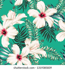Tropical white hibiscus flowers and palm leaves bouquets, green background. Vector seamless pattern. Jungle foliage illustration. Exotic plants. Summer beach floral design. Paradise nature