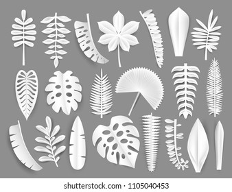 Tropical white paper cut leaves. Trendy summer exotic plants elemets with shadow isolated on grey background. Origamy style vector illustration
