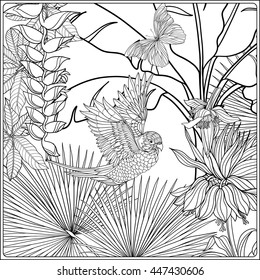 Tropical wild birds and plants. Tropical garden collection. Coloring page. Coloring book for adult and older children.  Outline vector illustration.