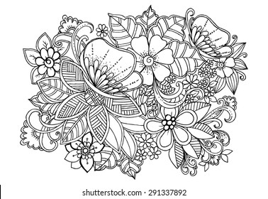 Tropical wild life. Flowers and butterflies on a white background in a black lines. Doodle floral image for coloring book and designs ideas