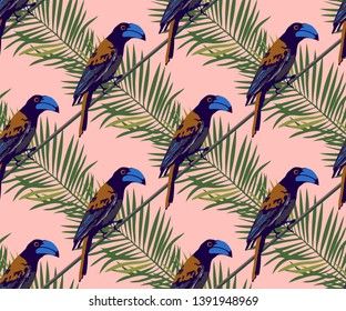 Tropical wildlife seamless pattern. Madagascar bird, flowers vector pattern