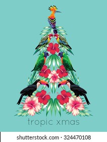 tropical xmas mirror print