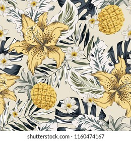 Tropical yellow lily flowers, pineapples, gray palm, monstera leaves, beige background. Vector seamless pattern. Jungle foliage illustration. Exotic plants. Summer beach floral design. Paradise nature