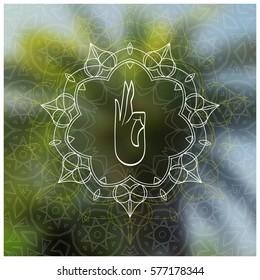 Tropical yoga banner. Sacred geometry mandala on realistic tropic background. Sunny jungle. Good for yoga studio, tantra or meditation resort, flyer, card, invitation. Vector EPS10 illustration.