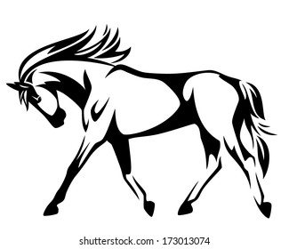 Trotting horse black and white vector outline - side view