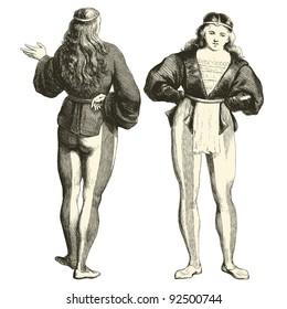 """Troubadour - vintage engraved illustration - """"Costumes anciens et modernes """" by Cesare Veccello ed.Firmin-Didot  in 1859 - Paris"""