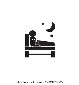 Trouble  sleeping black vector concept icon. Trouble  sleeping flat illustration, sign