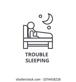 trouble  sleeping thin line icon, sign, symbol, illustation, linear concept, vector