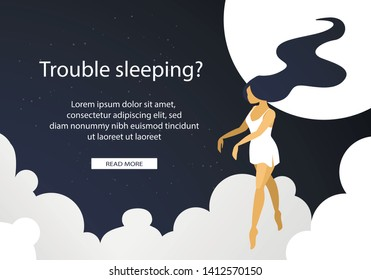 Trouble Sleeping Woman Suffering of Sleepwalking Going like Zombie with Hands Forward. Somnambulist Girl in Nightie Walk with Closed Eyes at Clouds. Cartoon Flat Vector Illustration, Horizontal Banner