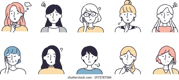 troubled face woman set simple illustration