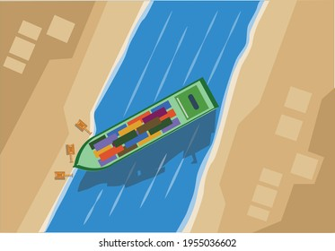 A troubled ship blocks the suez canal that connects Mediterranean Sea and Red Sea concept. Editable Clip Art.