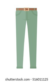 Trousers isolated on white background. Unisex man woman trousers. Green jeans in flat style design Modern pants vector illustration. Fashionable cotton elegant trousers. Casual male female jeans icon