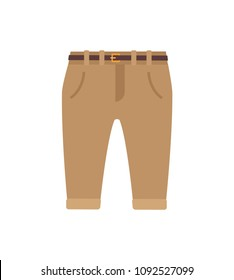 Trousers for kids, poster with casual pants created for little boys, brown objects for children, banner and vector illustration isolated on white