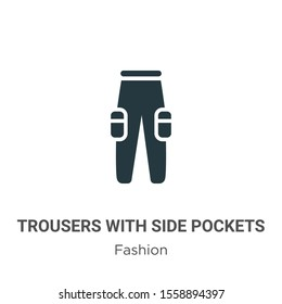 Trousers with side pockets vector icon on white background. Flat vector trousers with side pockets icon symbol sign from modern fashion collection for mobile concept and web apps design.