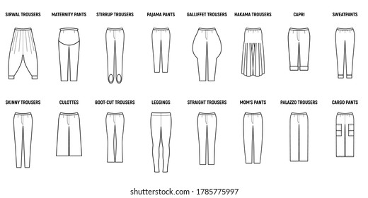 Trousers for woman set. Pants vector illustration pattern for girls.