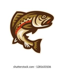 trout fish logo mascot template vector illustration