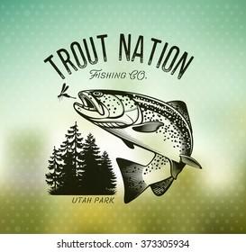 Trout Fishing emblem on blur background