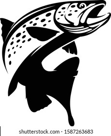 Trout Logo Template. Simple, Elegant, Abstract & Masculine. Great for your Fishing Logo company.