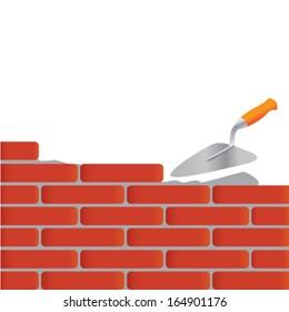 trowel and bricks