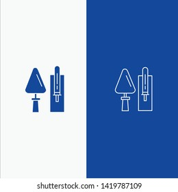 Trowel, Brickwork, Construction, Masonry, Tool Line and Glyph Solid icon Blue banner Line and Glyph Solid icon Blue banner
