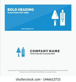 Trowel, Brickwork, Construction, Masonry, Tool SOlid Icon Website Banner and Business Logo Template