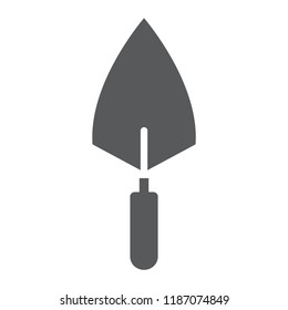 Trowel glyph icon, tool and repair, bricklayer sign, vector graphics, a solid pattern on a white background, eps 10.