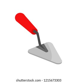 Trowel. Icon trowel. Spatula with a red handle. Tool item. Vector illustration. EPS 10.