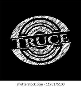 Truce chalkboard emblem on black board