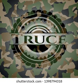 Truce on camo texture. Vector Illustration. Detailed.